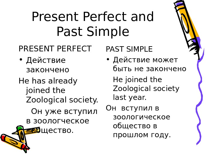 Present Perfect and Past Simple PRESENT PERFECT • Действие закончено He has already joined