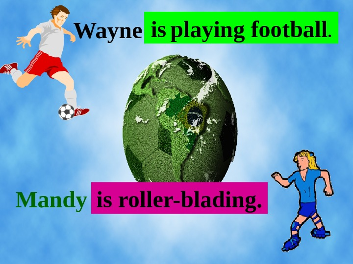 . . . Wayne Mandy. . . is  playing football. is roller-blading.