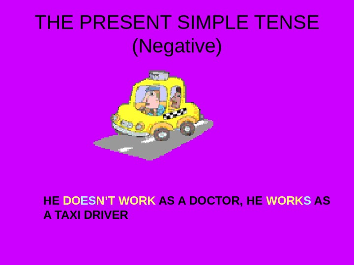 THE PRESENT SIMPLE TENSE (Negative) HE DO ES N'T WORK AS A DOCTOR, HE WORK S