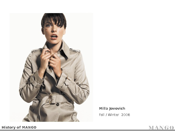 History of MANGO Milla Jovovich Fall / Winter 2006