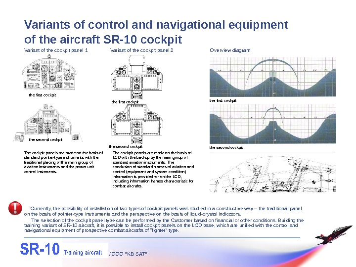 "/ OOO ""KB SAT""Variants of control and navigational equipment of the aircraft SR-10 cockpit Currently, the"