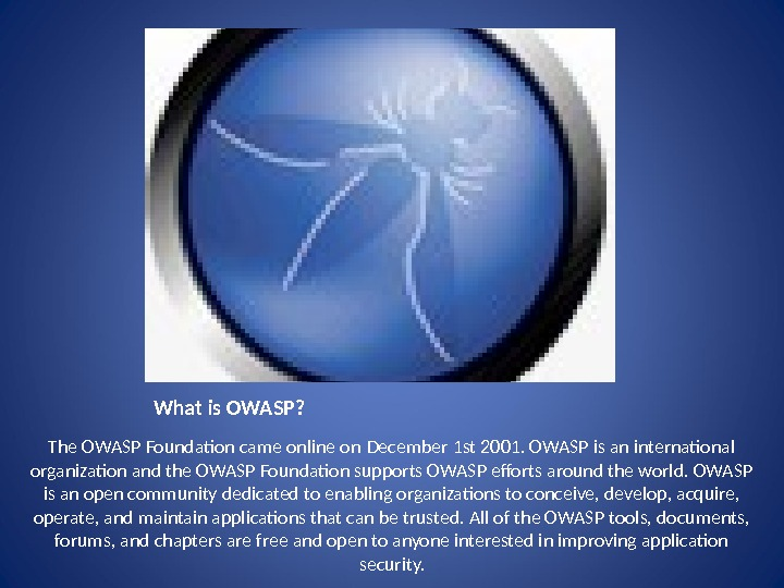 What is OWASP? The OWASP Foundaton came online on December 1 st 2001. OWASP is an