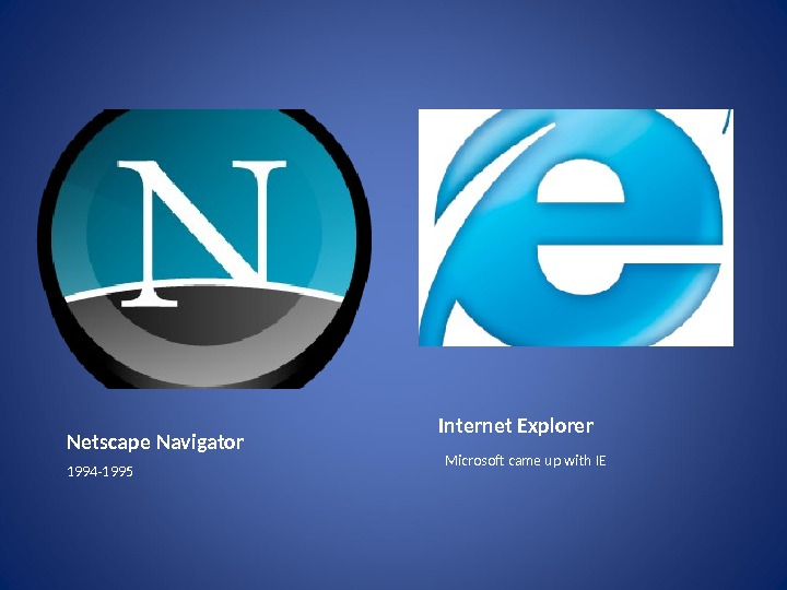 Internet Explorer Microsoft came up with IENetscape Navigator 1994 -1995
