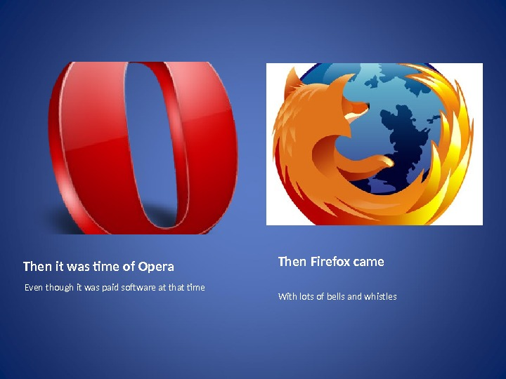 Then it was time of Opera Even though it was paid software at that tme Then