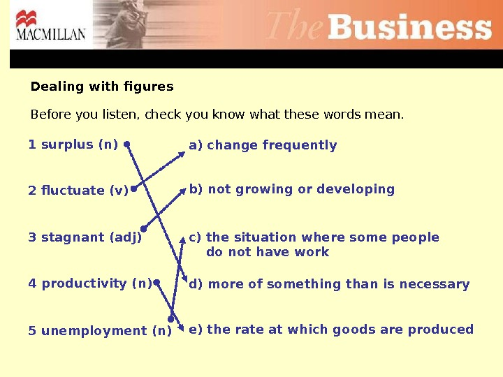 b) not growing or developing 2 fluctuate (v) 3 stagnant (adj) 4 productivity (n) 5 unemployment