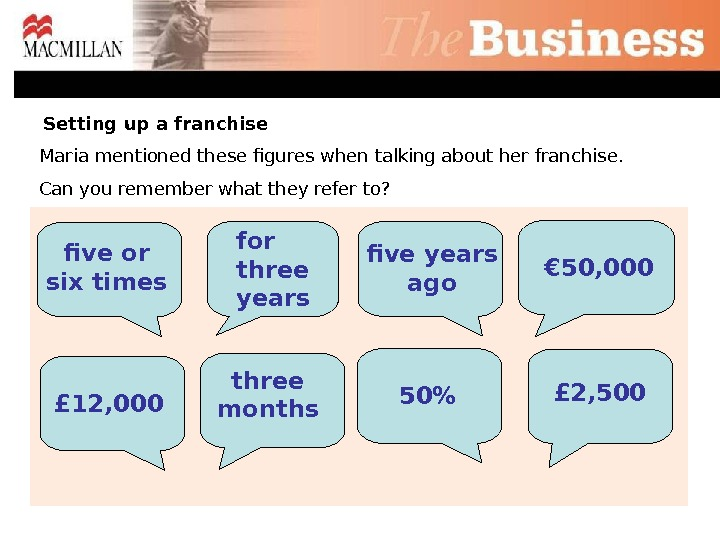 five years agofor three years £ 12, 000 £ 2, 500 50Maria mentioned these figures when