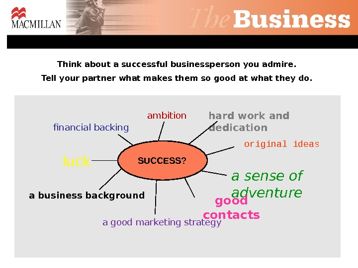 financial backing luck ambition a business background a sense of adventure a good marketing strategy good