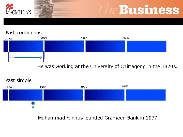 Past continuous He was working at the University of Chittagong in the 1970 s. Past simple