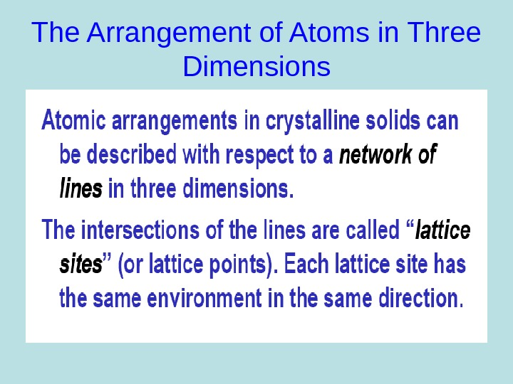 The Arrangement of Atoms in Three Dimensions