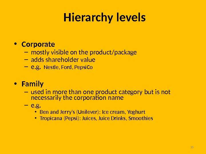 35 Hierarchy levels • Corporate – mostly visible on the product/package – adds shareholder value –