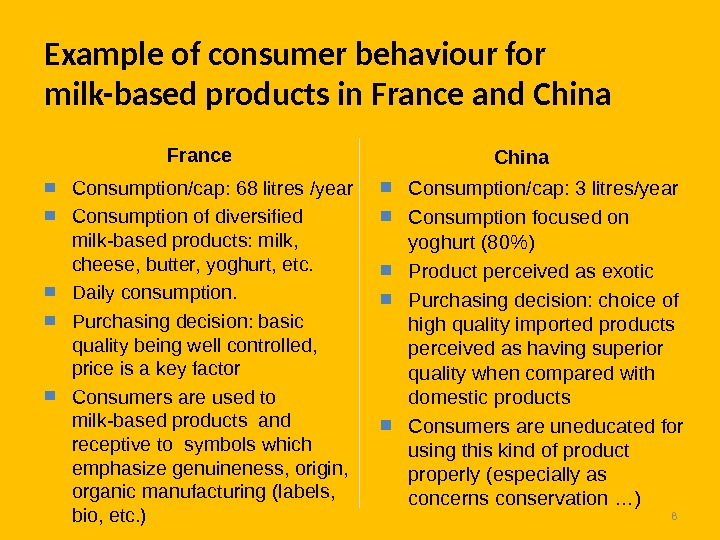8 Example of consumer behaviour for milk-based products in France and China  Consumption/cap: 68 litres