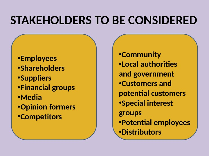 STAKEHOLDERS TO BE CONSIDERED • Employees • Shareholders  • Suppliers • Financial groups • Media