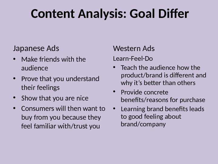 Content Analysis: Goal Differ Japanese Ads • Make friends with the audience • Prove that you