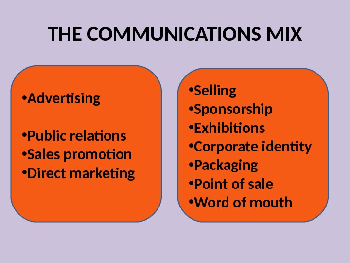 THE COMMUNICATIONS MIX • Advertising    • Public relations  • Sales promotion •