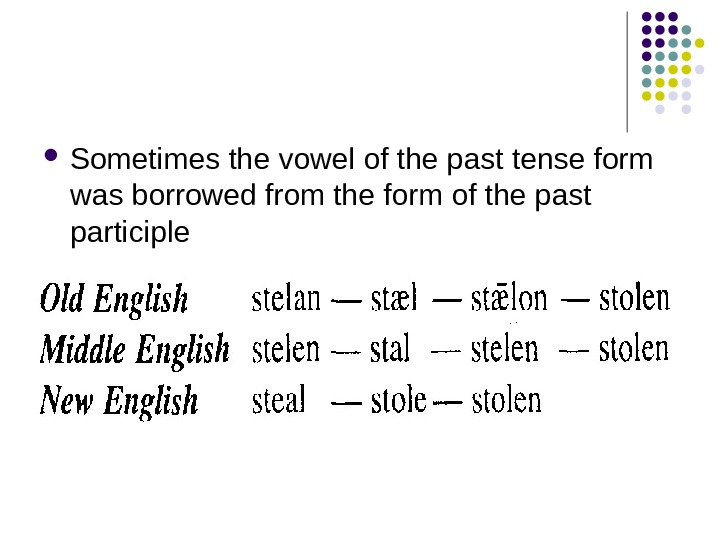 Sometimes the vowel of the past tense form was borrowed from the form of