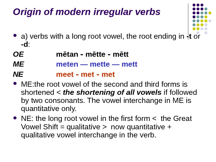 Origin of modern irregular verbs a) verbs with a long root vowel, the root