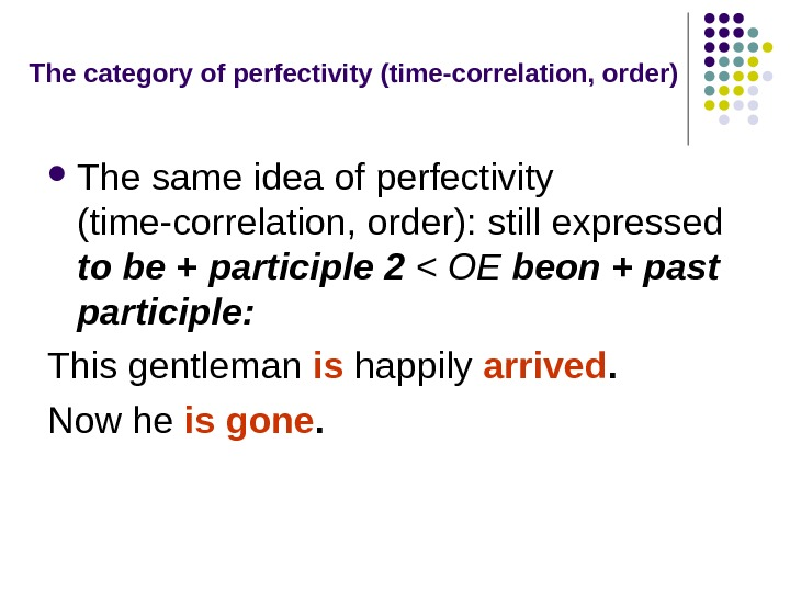 The category of perfectivity (time-correlation, order) The same idea of perfectivity (time-correlation, order): still