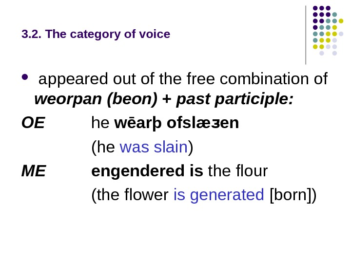3. 2. The category of voice appeared out of the free combination of weorpan