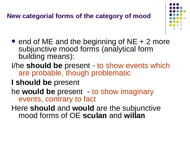 New categorial forms  of the category of mood end of ME and the
