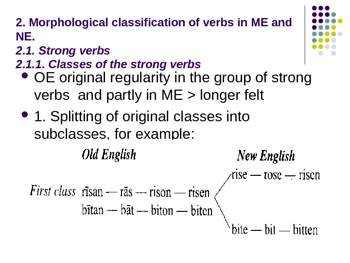 2. Morphological classification of verbs in ME and NE. 2. 1. Strong verbs 2.