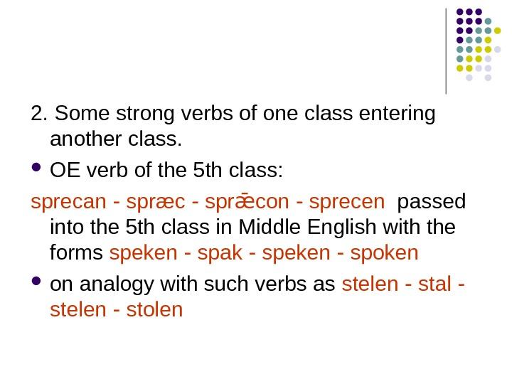 2. Some strong verbs of one class entering another class.  OE verb of
