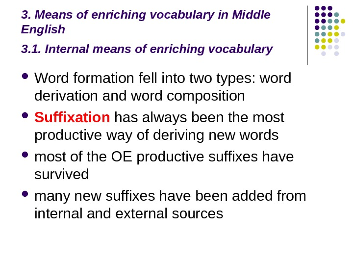 3. Means of enriching vocabulary in Middle English 3. 1. Internal means of enriching vocabulary