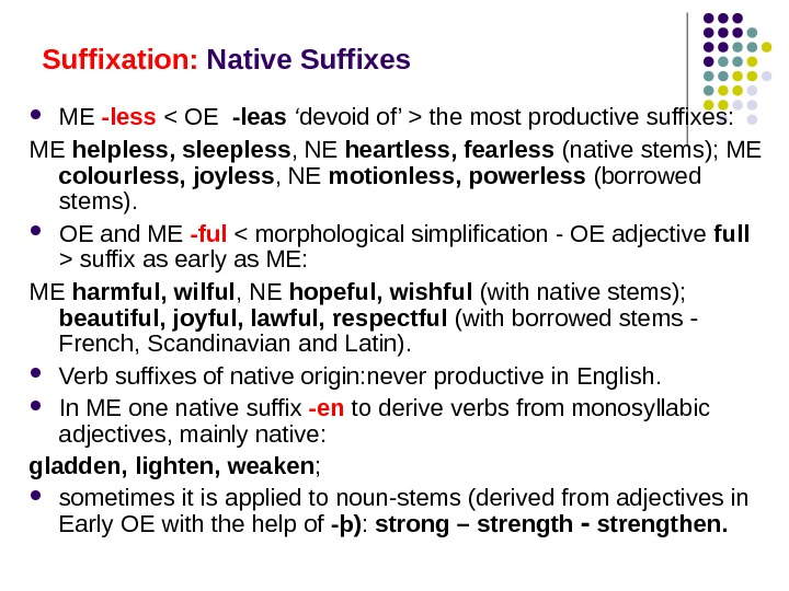Suffixation:  Native Suffixes ME -less  OE  -leas ' devoid of'  the most