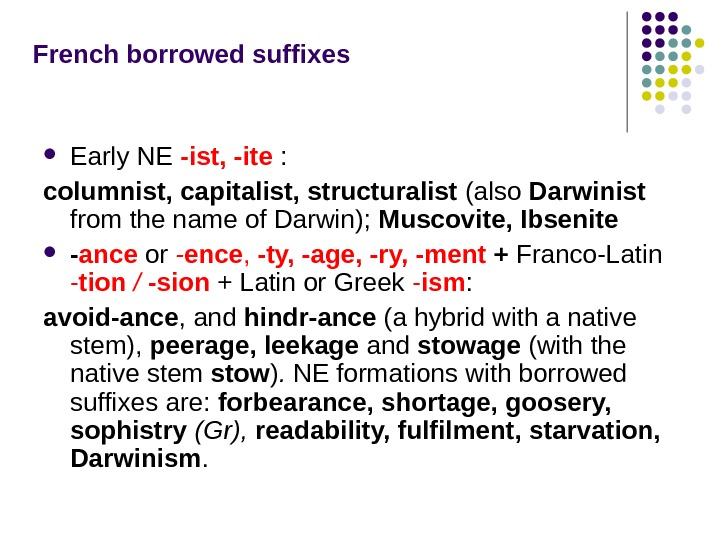 French borrowed suffixes Early NE  -ist, -ite  :  columnist, capitalist, structuralist  (also