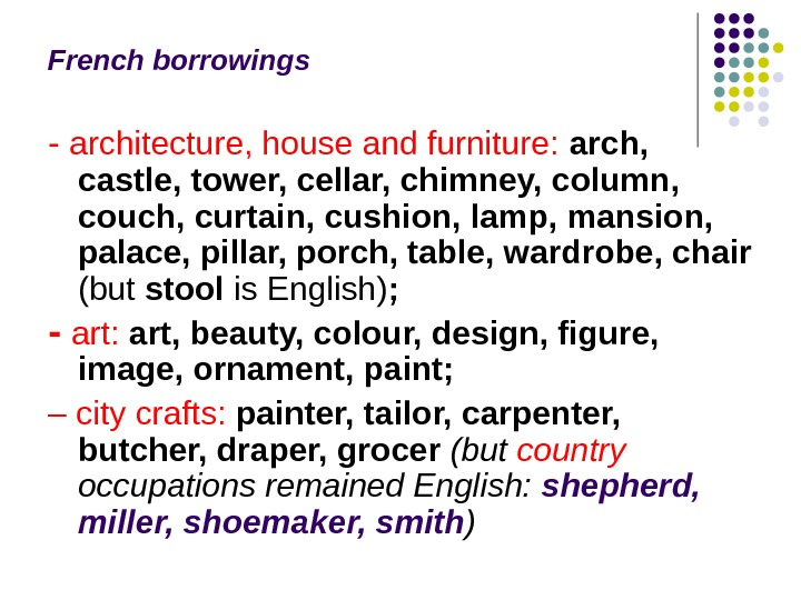 French borrowings ‑ architecture, house and furniture:  arch,  castle, tower, cellar, chimney, column,