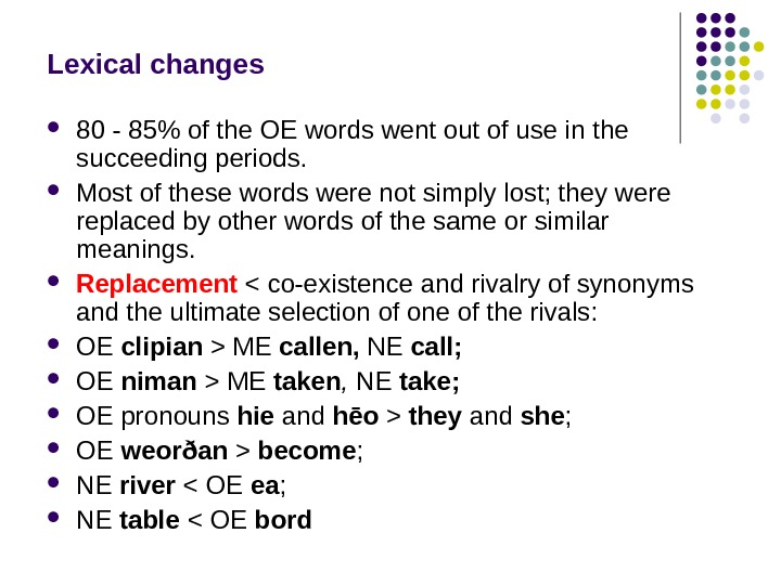 Lexical changes 80 - 85 of the OE words went out of use in the succeeding