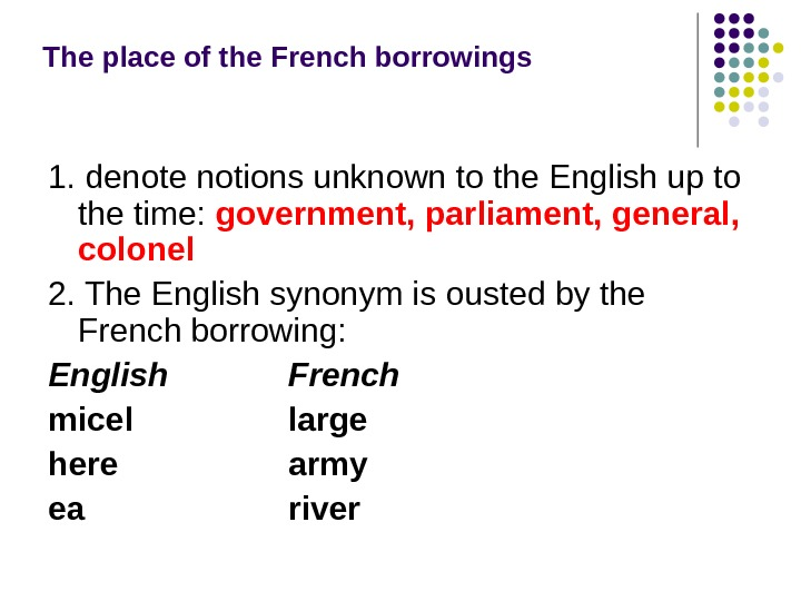 The place of the French borrowings  1. denote notions unknown to the English up to