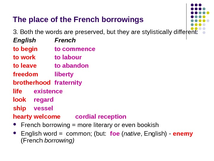 The place of the French borrowings 3. Both the words are preserved, but they are stylistically