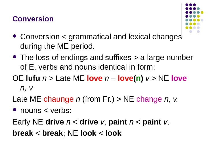 Conversion  grammatical and lexical changes during the ME period.  The loss of endings and