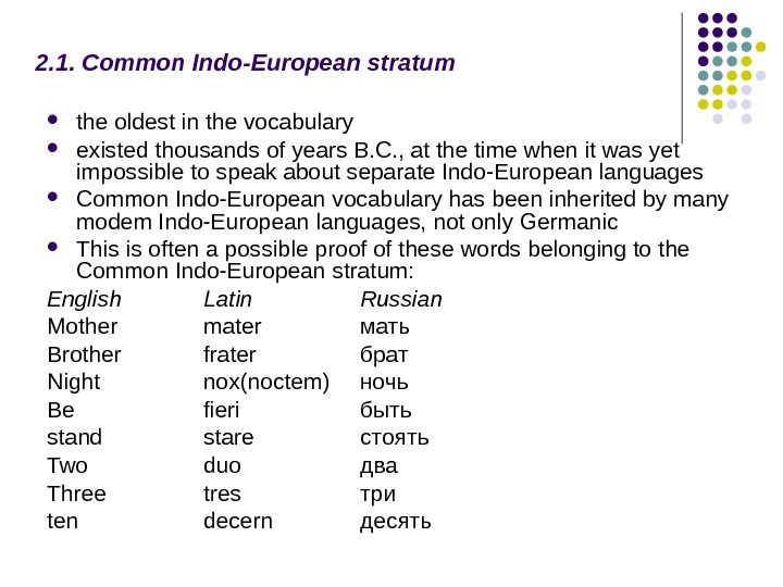 2. 1. Common Indo-European stratum  the oldest in the vocabulary existed thousands of years B.