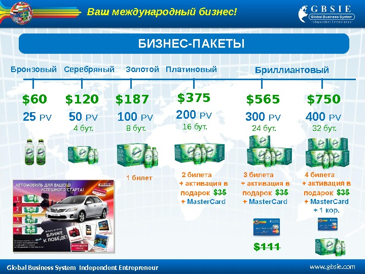 Global Business System  Independent Entrepreneur www. gbsie. com 50  PV 4 бут. 200
