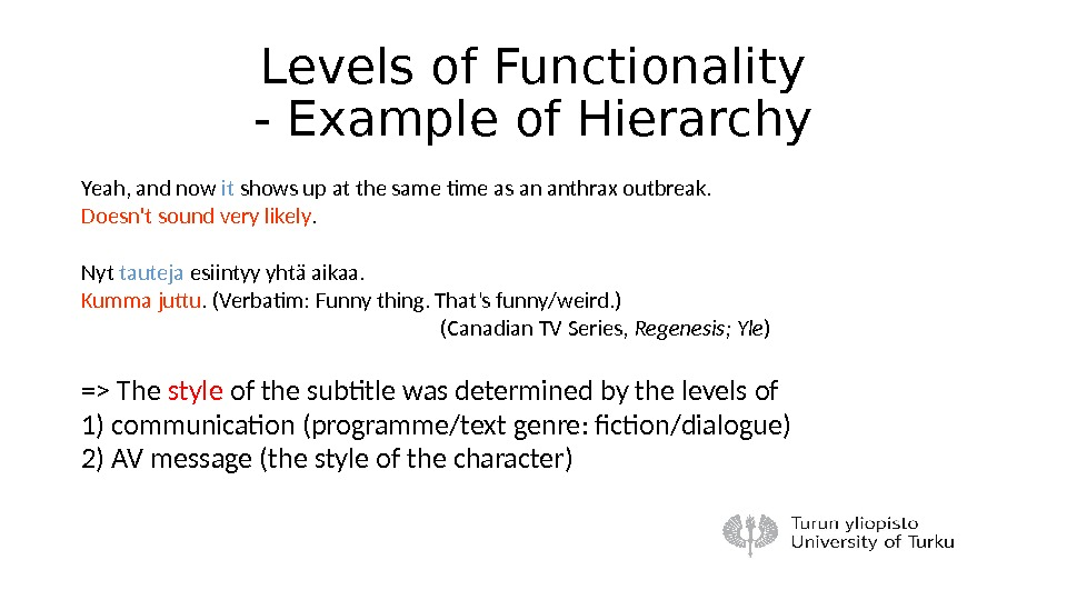 Levels of Functionality - Example of Hierarchy Yeah, and now it shows up at the same