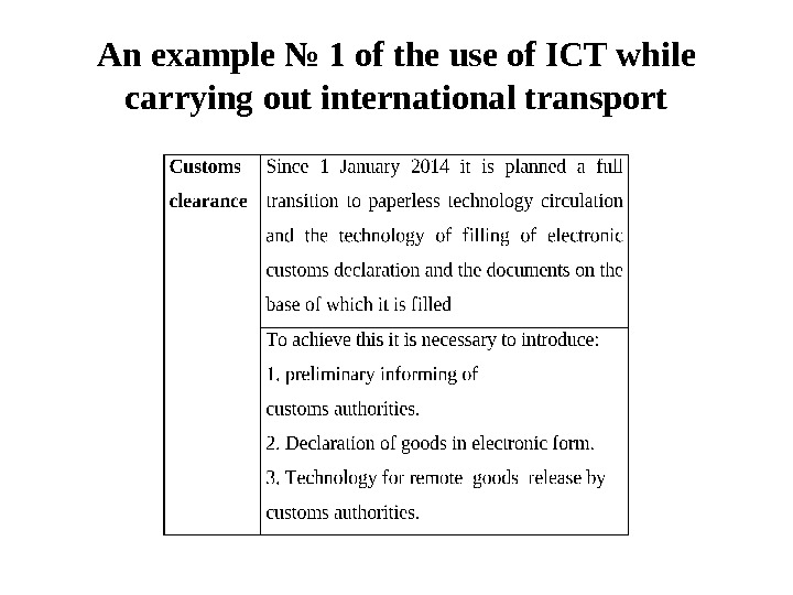 An example № 1 of the use of ICT while carrying out international transport