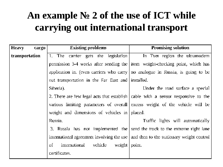 An example № 2 of the use of ICT while carrying out international transport