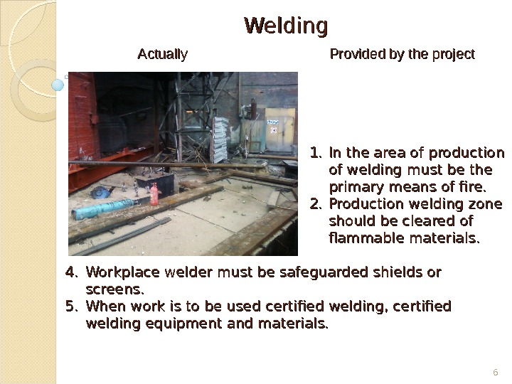 Welding Provided by the project АА ctually 1. 1. In the area of  production of