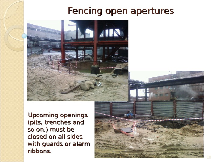 Fencing open apertures Upcoming openings (pits, trenches and so on. ) must be closed on all