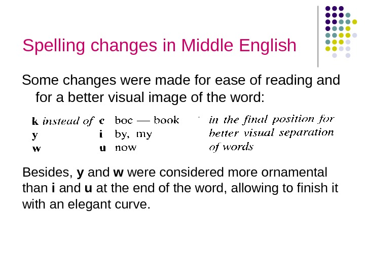 Spelling changes in Middle English Some changes were made for ease of reading and for a