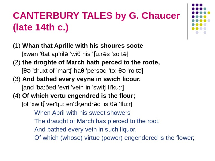 CANTERBURY TALES by G. Chaucer (late 14 th c. ) (1) Whan that Aprille with his