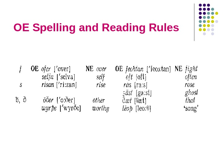 OE Spelling and Reading Rules