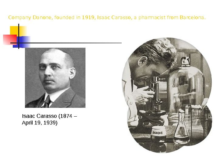 Isaac Carasso (1874 – April 19, 1939) Company Danone, founded in 1919, Isaac Carasso, a pharmacist
