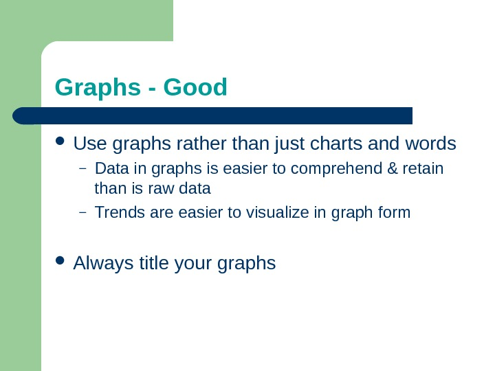 Graphs - Good Use graphs rather than just charts and words – Data in graphs is