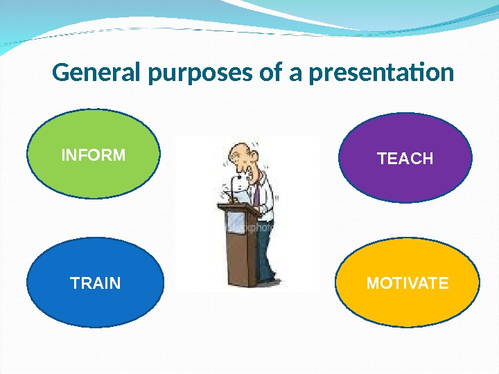 General purposes of a presentation INFORM TRAIN TEACH MOTIVATE