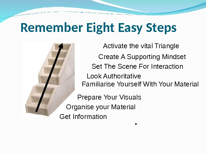 Remember Eight Easy Steps Get Information Organise your Material  Prepare Your Visuals Familiarise