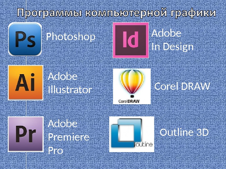 Photoshop Adobe Illustrator Adobe Premiere Pro Adobe In Design Corel DRAW Outline 3D