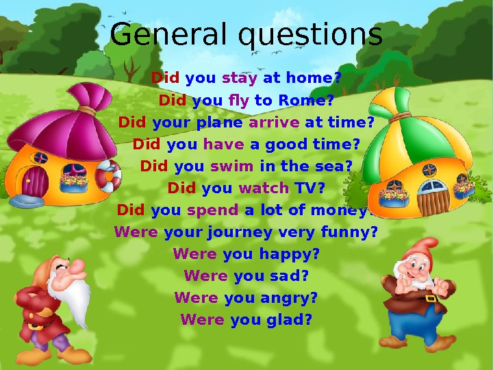 General questions Did you stay at home? Did you fly to Rome? Did your plane arrive