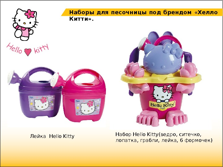 Набор Hello Kitty(ведро, ситечко,  лопатка, грабли, лейка, 6 формочек)Лейка Hello Kitty Наборы для